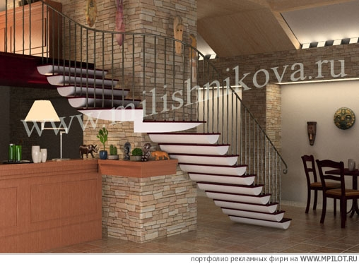 Визуализация лестницы в интерьере